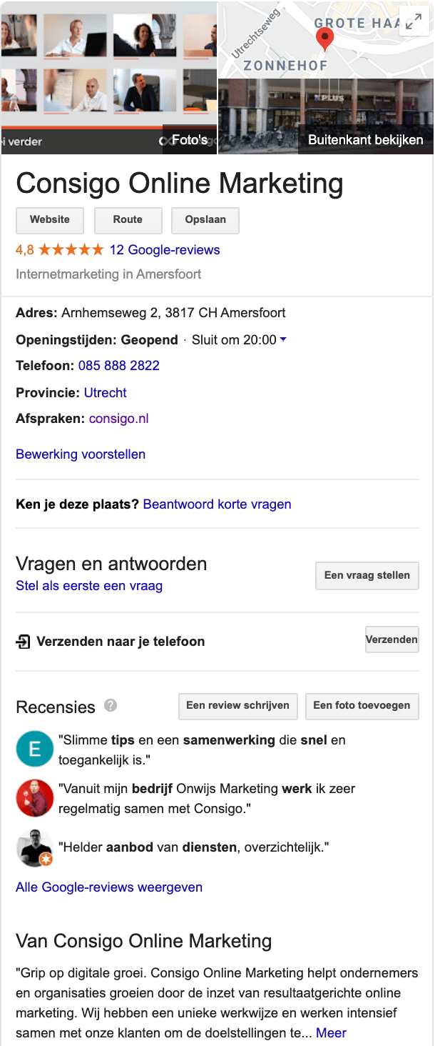 Consigo Online Marketing Amersfoort Google